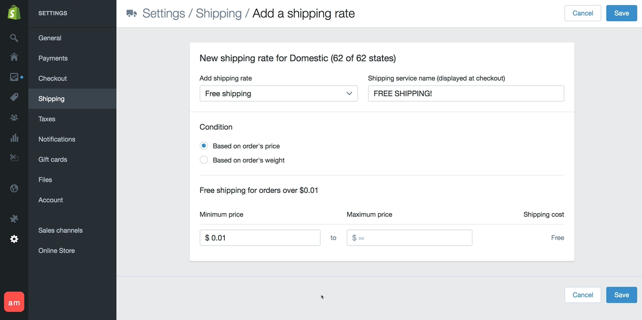 This is an example of setting up your Shipping using the FREE SHIPPING option according to Adrian Morrison.