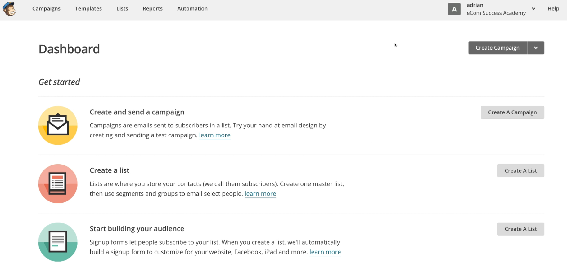 The Mailchimp Dahsboard. An auto-responder app suggested by ESA