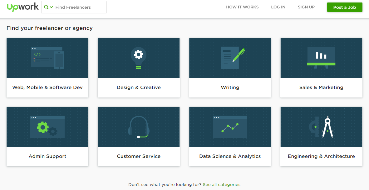 The upwork dashboard showing you the different types of freelancer jobs available to optimize and scale your business.