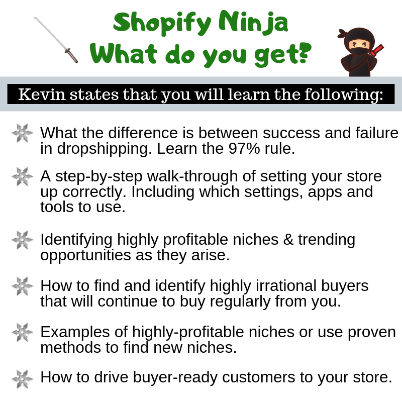 Shopify Ninja - What do you get from the course?