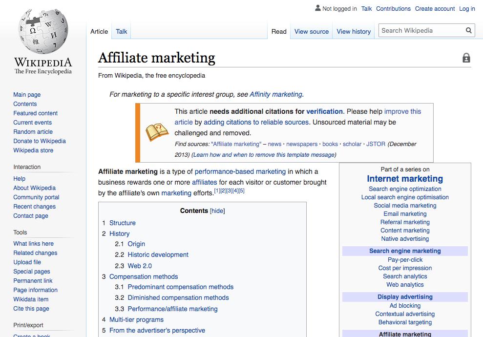 Wikipedia - Affiliate Marketing