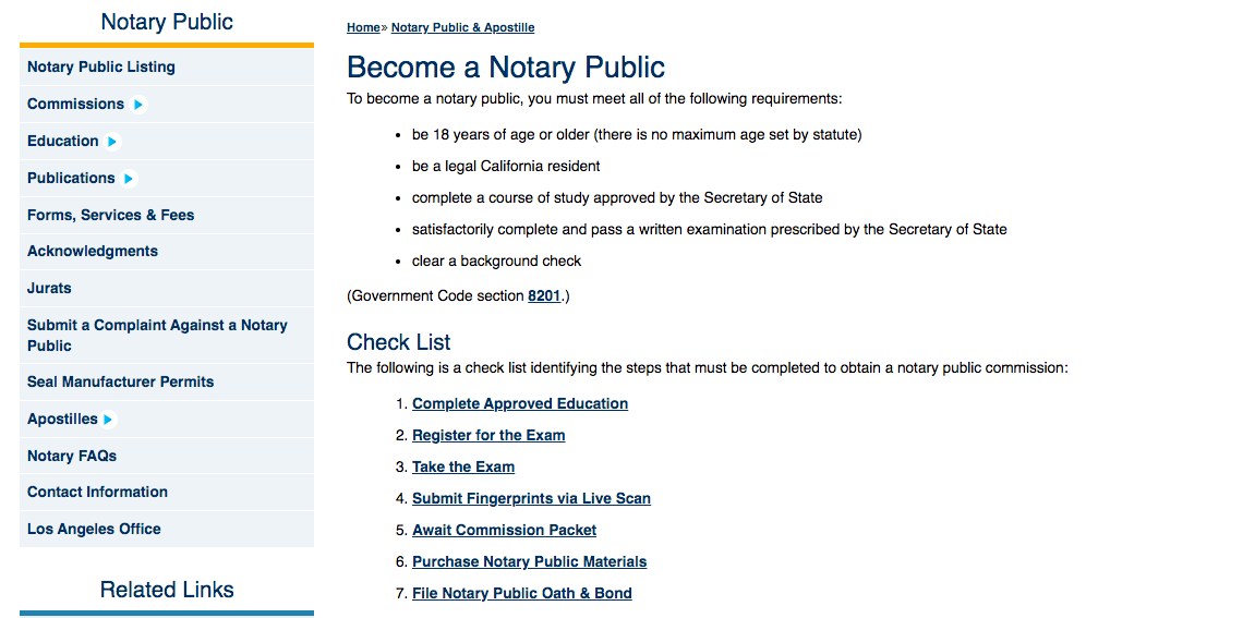 CA notary public requirements