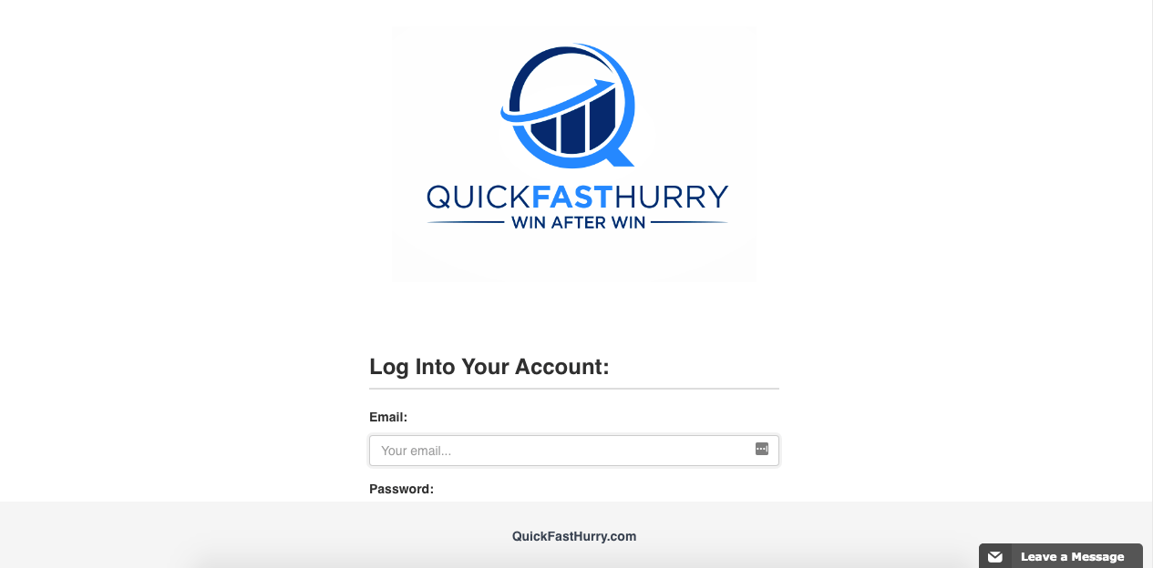 Quick Fast Hurry Login page