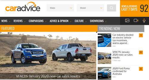 The second example of blogs that are making money is caradvice.com.au, the image here is the homepage showing their 92 new news articles and automobile reviews over the last 7 days